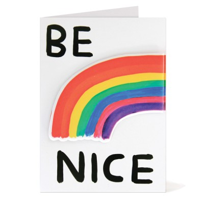 BE NICE PUFFY STICKER CARD DAVID SHRIGLEY