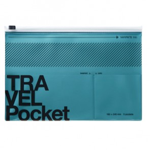 Flat file case, TRAVEL KIT  // Metallic blue